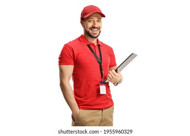 Sales clerk smiling at camera isolated on white background