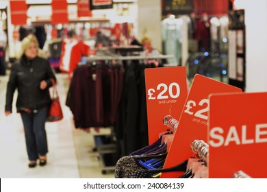 Sales at Clothes Store Background - Image Has a Shallow Depth of Field