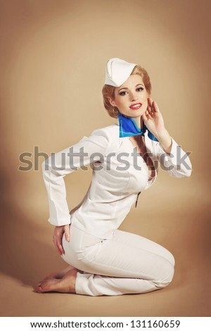 Sales Fashion Blonde Woman Pin Up Girl In Retro Vintage Dress In Romantic Pose