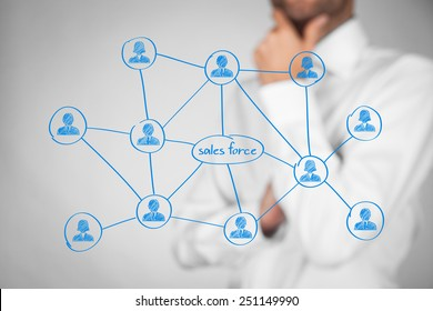 Sales force concept. Businessman think about sales force team.