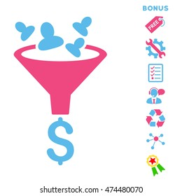 Sales Funnel icon with bonus pictograms. Glyph illustration style is flat iconic bicolor symbols, pink and blue colors, white background, rounded angles.