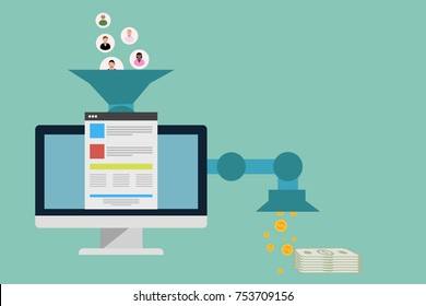 sales funnel optimization web concept  banner