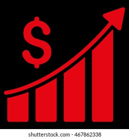 Sales Growth Bar Chart icon. Glyph style is flat iconic symbol with rounded angles, red color, black background.
