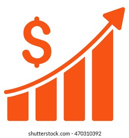 Sales Growth Bar Chart icon. Glyph style is flat iconic symbol with rounded angles, orange color, white background.