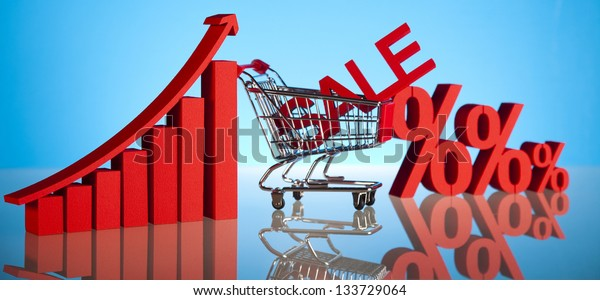 Sales growth chart, Shopping cart