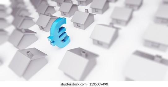 sales house euro sign  in euro 3d Illustrations on a white background 3D illustration, 3D rendering