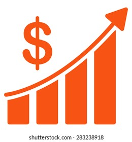 Sales icon from Business Bicolor Set. Glyph style: flat symbol, orange color, rounded angles, white background.