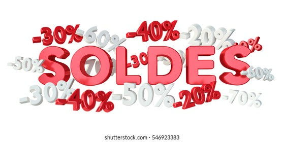 "Sales icons and percent floating in the air on white background 3D rendering (""soldes"" means ""sales"" in french)"