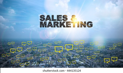 SALES AND MARKETING  text on city and sky background with bubble chat ,business analysis and strategy as concept