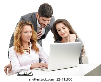 Sales people discussing ideas while sitting at office  against white background.
