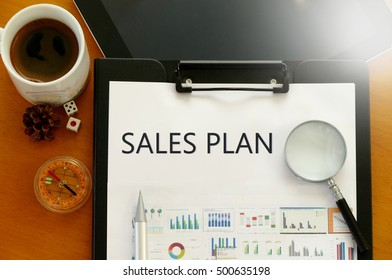 sales plan - text / word   for the business concept for company strategy and planning
