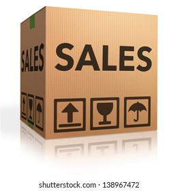 sales promotion or offer cardboard box online shopping in internet web shop for bargain and discount