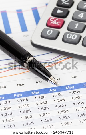 sales report analysis pen calculator stock photo edit now