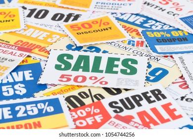 Sales saving discount coupon voucher, coupons are mock-up
