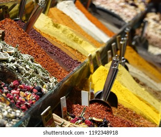 Sales stand with spices in a bazaar in Istanbul