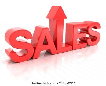 Sales with upward arrow, 3d render, white background