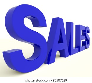 Sales Word In Blue Representing Business Or Commerce