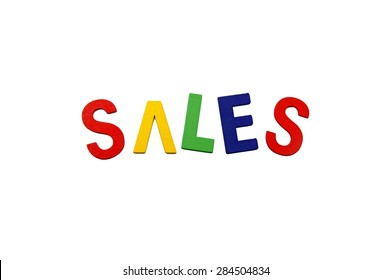 Sales Words with a white background.  Image has grain or blurry or noise and soft focus when view at full resolution. (Shallow DOF, slight motion blur)