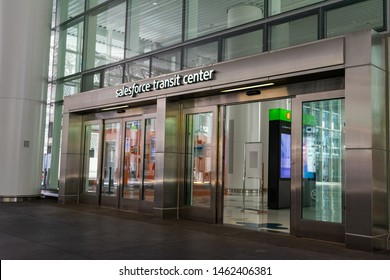 Salesforce Transit Center sign above the entrance to transit station that serves as the primary bus terminal and potentially as a future rail terminal - San Francisco, California, USA - July 12, 2019