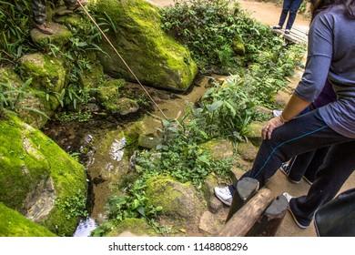 Salesopolis, São Paulo, Brazil, July 22, 2012. tourist where born the Tiete River in the Tiete Park