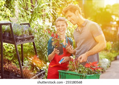 Saleswoman giving advice to customer in a flower shop in summer