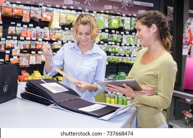 saleswoman showing customer information from catalogue