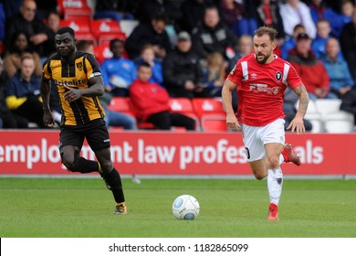 SALFORD, ENGLAND - SEPTEMBER 08, 2018: Danny Lloyd of Salford City during the National League match between Salford City and Maidstone United at The Peninsula Stadium, Salford