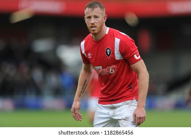 SALFORD, ENGLAND - SEPTEMBER 08, 2018: Adam Rooney of Salford City during the National League match between Salford City and Maidstone United at The Peninsula Stadium, Salford