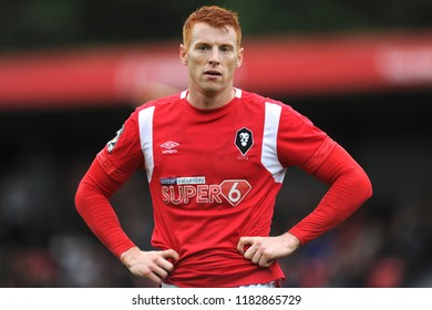 SALFORD, ENGLAND - SEPTEMBER 08, 2018: Rory Gaffney of Salford City during the National League match between Salford City and Maidstone United at The Peninsula Stadium, Salford