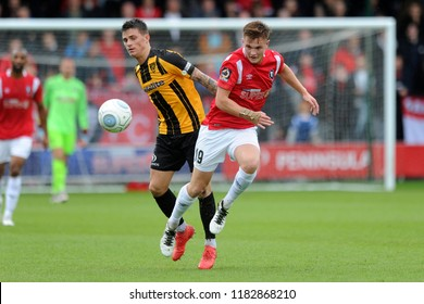 SALFORD, ENGLAND - SEPTEMBER 08, 2018: Mark Shelton of Salford City during the National League match between Salford City and Maidstone United at The Peninsula Stadium, Salford