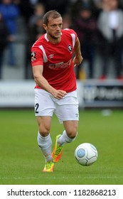 SALFORD, ENGLAND - SEPTEMBER 08, 2018: Scott Wiseman of Salford City during the National League match between Salford City and Maidstone United at The Peninsula Stadium, Salford