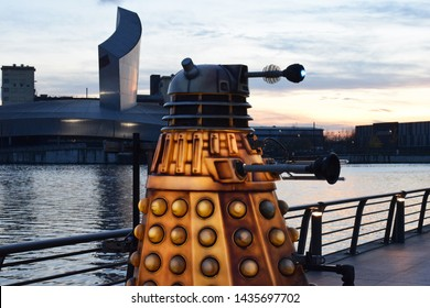 Salford, Greater Manchester, UK. December 11. 2018. Side view of dalek at Salford Quays, Media City part of the Lightwaves exhibition.