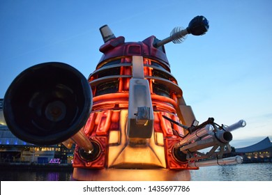 Salford, Greater Manchester, UK. December 11. 2018. Front view of dalek at Salford Quays, Media City part of the Lightwaves exhibition.