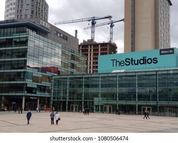 Salford Manchester UK 04-29-2018 BBC studio buildings.