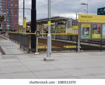 Salford Manchester UK 04-29-2018 Media City Metrolink Platform