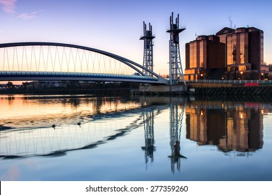 The Salford Quays lift bridge, also known as Salford Quays Millennium footbridge, in Manchester, England.