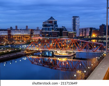 Salford Quays skyline in the Greater Manchester, England.