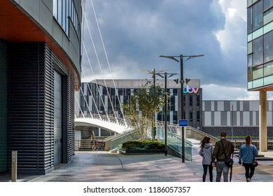 Salford Quays, UK - August 24,2018: mediaCityUK television and radio broadcast centre in Salford, UK