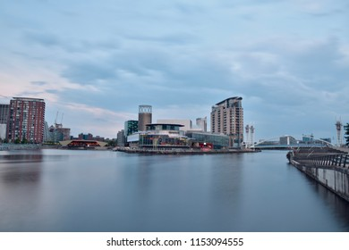 Salford Quays waterfront long exposure