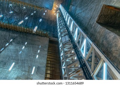 SALINA TURDA, ROMANIA - AUGUST 4, 2018: Rudolf mine panoramic elevator that offers tourists an overview of the whole mine at the Turda salt mine, Romania.