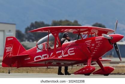 SALINAS, CA - SEPT 25: Sean D. Tucker behind Oracle Challenger bi-plane during the California International Airshow, on September 25, 2011, Salinas, CA.