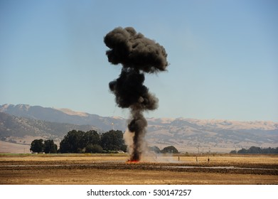 Salinas, CA, USA - 2016: Explosions as part of a demonstration at air show.