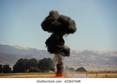 Salinas, CA, USA - 2016 : Explosions as part of a demonstration at air show festival.