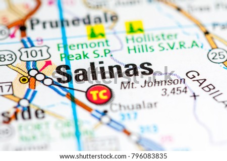 Salinas California Usa On Map Stock Photo Edit Now 796083835