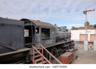 SALINAS CALIFORNIA USA; SEPTEMBER 26th 2018. Historic Southern Pacific 1237 S-10 class 0-6-0 steam locomotive built by Baldwin Locomotive Works. Fine Engine on display at the Salinas Railroad Museum.