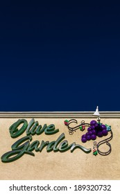 SALINAS, CA/USA - APRIL 23, 2014:  Olive Garden Restaurant Exterior. Olive Garden is an American casual dining restaurant chain specializing in Italian-American cuisine.