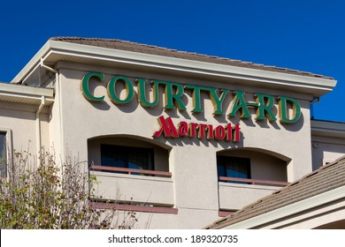 SALINAS, CA/USA - APRIL 23, 2014: Courtyard by Marriot motel exterior. Courtyard by Marriott is a brand of hotels owned by Marriott International designed for business travelers.