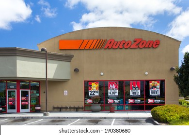 SALINAS, CA/USA - APRIL 27, 2014:  Auto Zone car parts store. AutoZone is the second-largest retailer of aftermarket automotive parts and accessories in the United States.