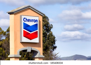 SALINAS, CA/USA - APRIL 3, 2014:  Chevon gas station sign.  Chevron Corporation is an American multinational energy corporation headquartered in California, USA.
