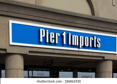 SALINAS, CA/USA - APRIL 8, 2014: Pier 1 Imports exterior sign. Pier 1 Imports is a retailer specializing in imported home furnishings and decor.